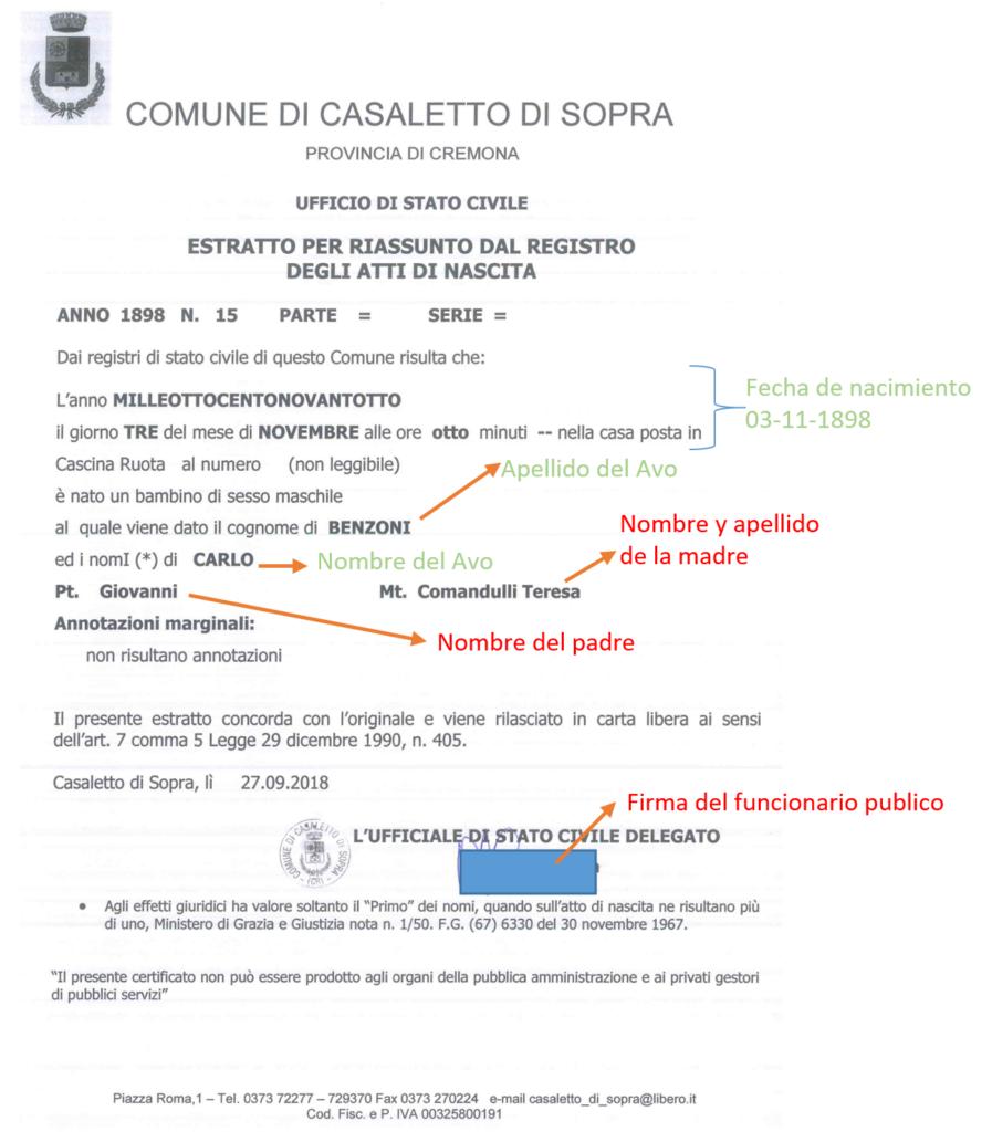 Acta de nacimiento italiana