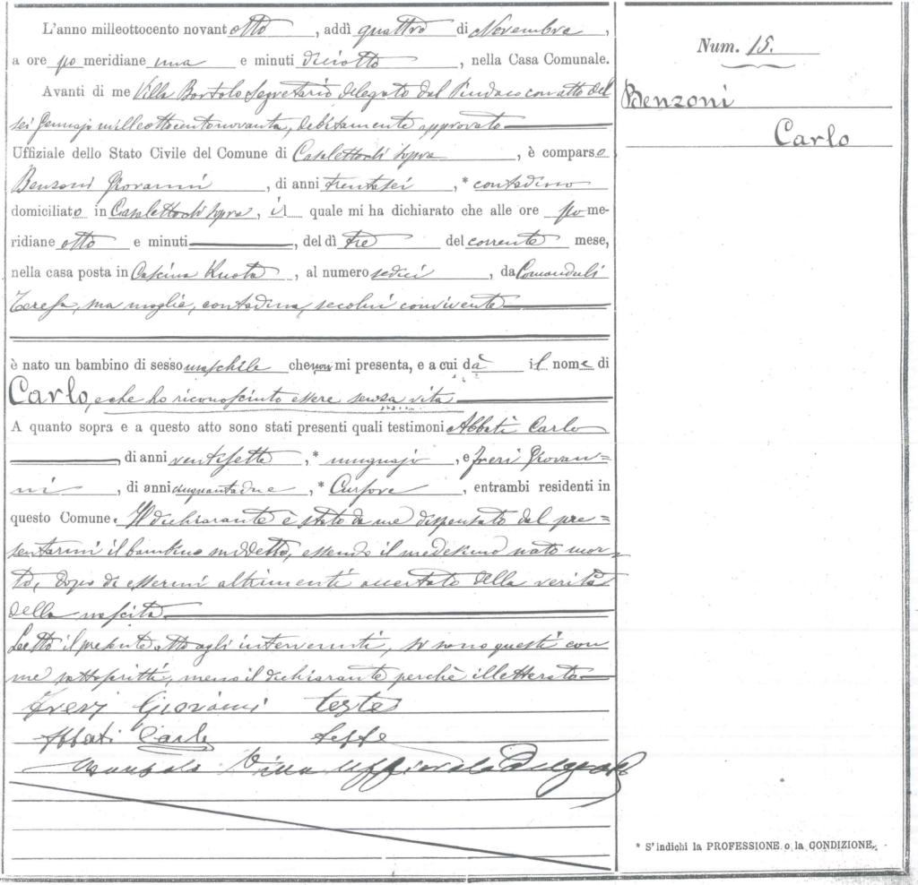 Registro original del acta de nacimiento del itaiano